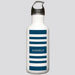 Blue and White Stripes Stainless Water Bottle 1.0L